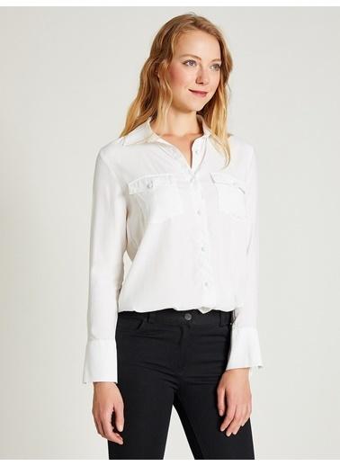 Vekem-Limited Edition Jakarlı Çift Cepli Gömlek Beyaz
